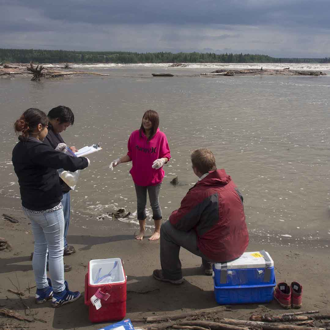 Students conducting water samples at Pelican Rapids